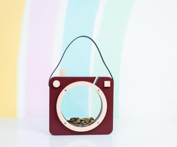 burgundy photoshaped piggy bank 01