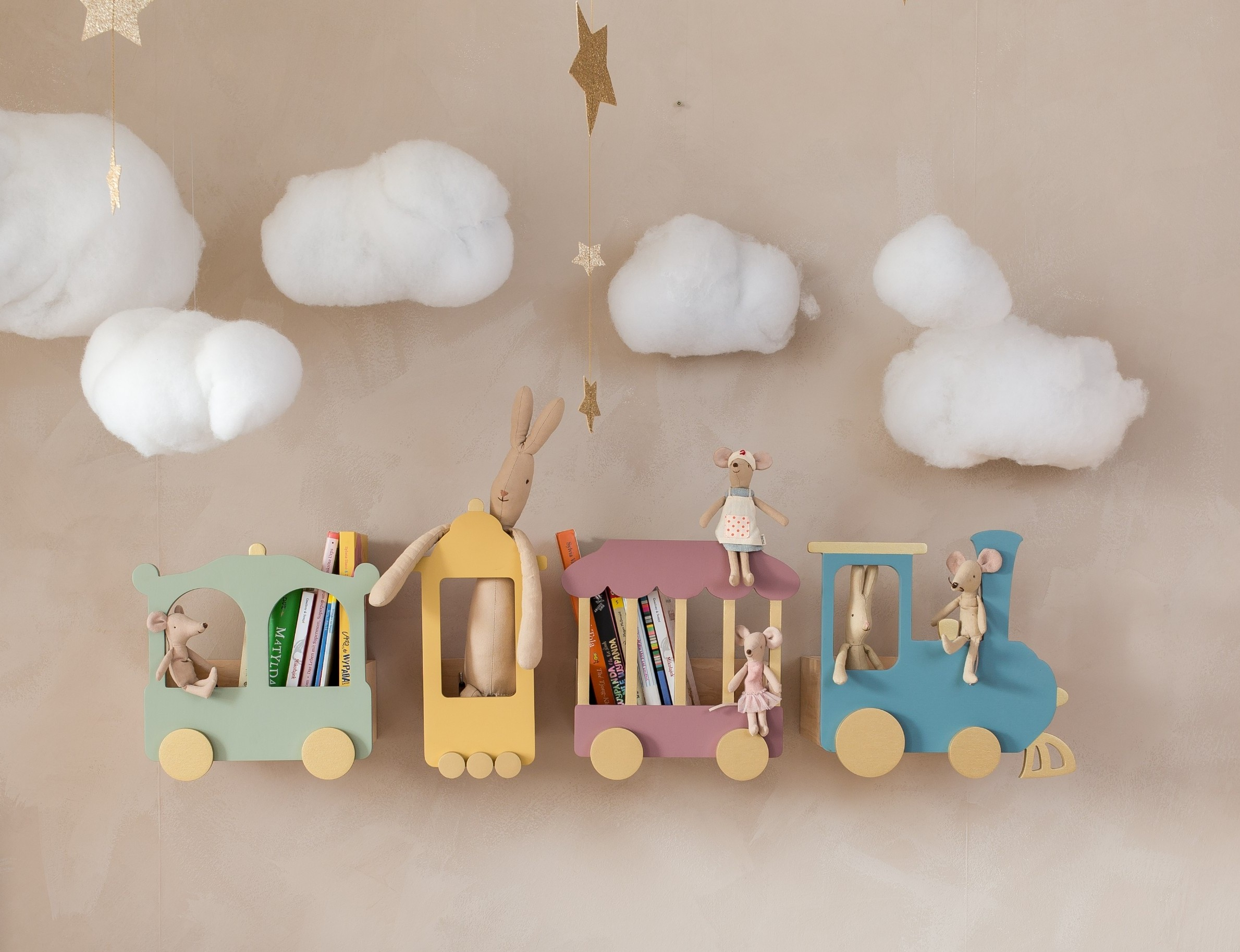 train shelf kids room dusty rose nursery