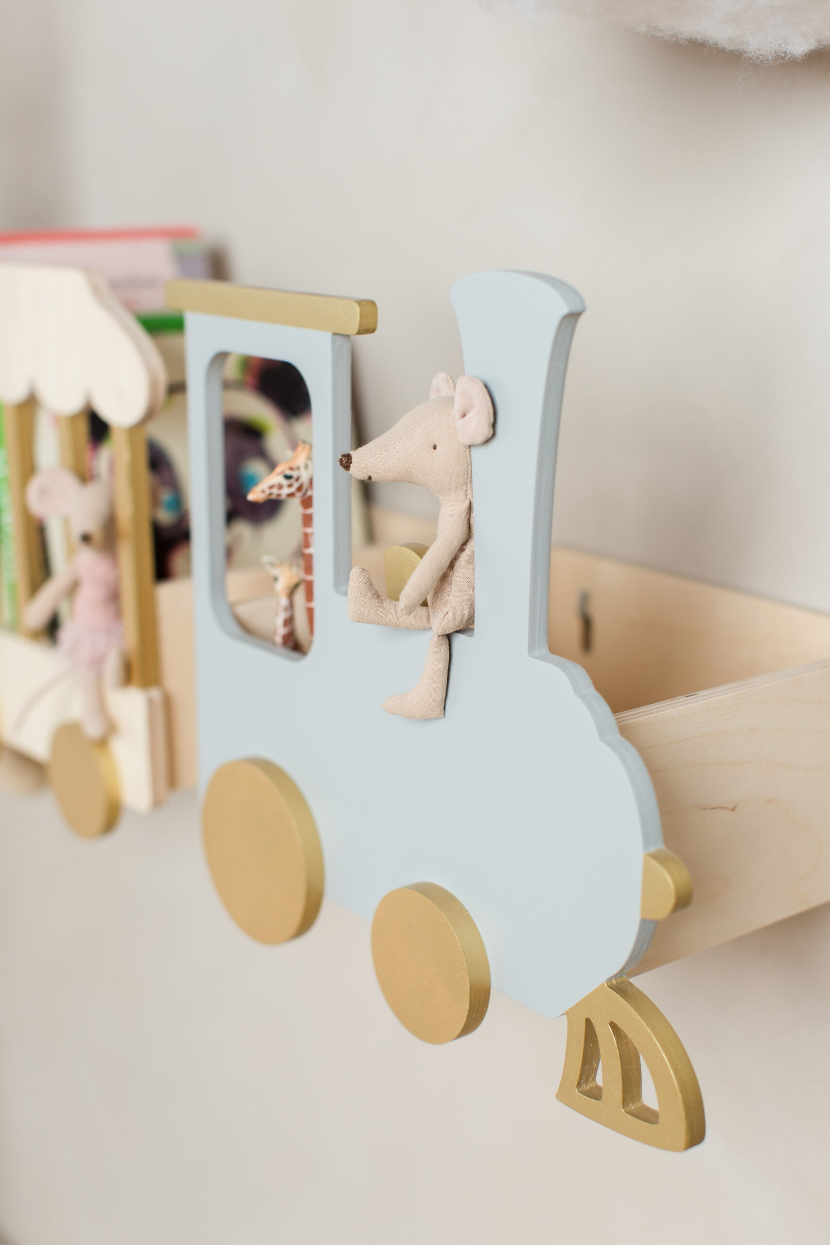 train shelf natural version kids room